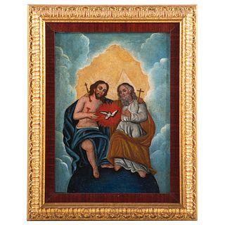 South American School, 19th c. Holy Trinity, oil