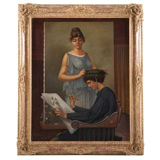 19th c. Artist Unknown. Crowned by His Muse, oil