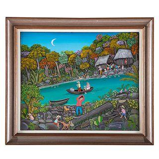 """Hilda Vogl. """"Transporte en el Rio,"""" oil on canvas"""