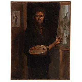 "Nathaniel K. Gibbs. ""Self-Portrait #3,"" oil"