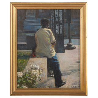 """Nathaniel K. Gibbs. """"Waiting #2,"""" oil on panel"""