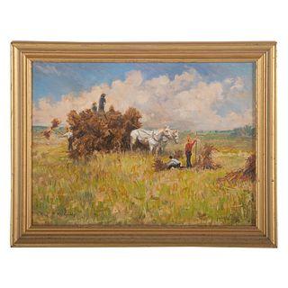 Nathaniel K. Gibbs. Haystacks, oil on panel