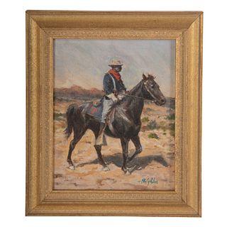 "Nathaniel K. Gibbs. ""Study of Horse Soldier,"" oil"