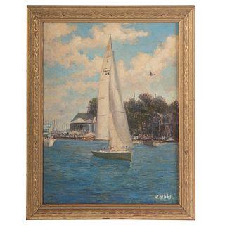 """Nathaniel K. Gibbs. """"Annapolis Sailboat,"""" oil"""
