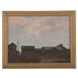 """Nathaniel K. Gibbs. """"Moving Walk,"""" oil on panel"""