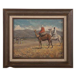 Nathaniel K. Gibbs. Camel Riders, oil on panel