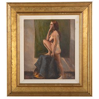 """Nathaniel K. Gibbs. """"Standing Nude,"""" oil on canvas"""