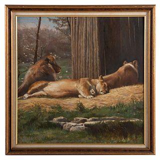 """Nathaniel K. Gibbs. """"Lions of Druid Hill,"""" oil"""