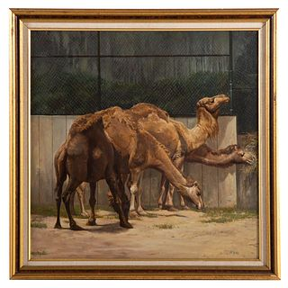 "Nathaniel K. Gibbs. ""Camels of Druid Hill,"" oil"