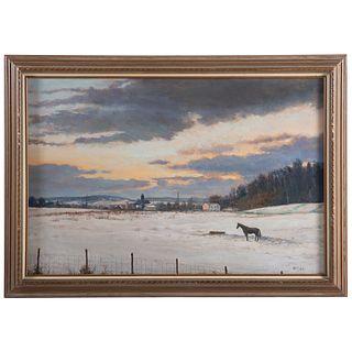 """Nathaniel K. Gibbs. """"Winter Daybreak,"""" oil"""