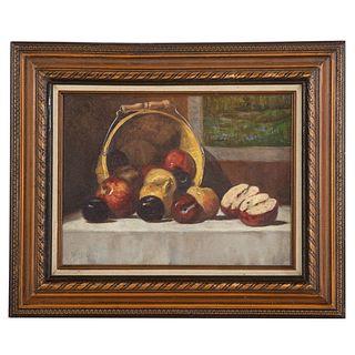 Nathaniel K. Gibbs. Still Life with Apples, oil