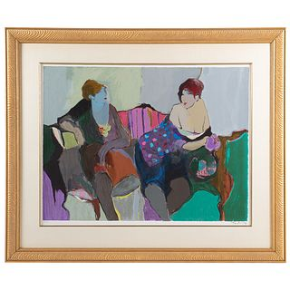 Itzchak Tarkay. The Conversation, color serigraph
