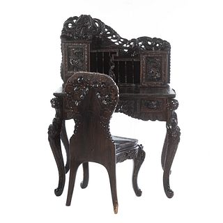 Chinese Export Carved Wood Desk & Chair