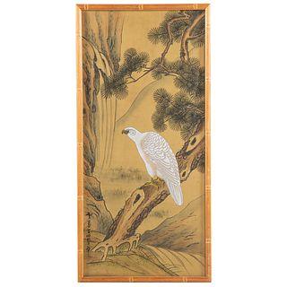 Japanese Painted Silk Scroll of Hawk