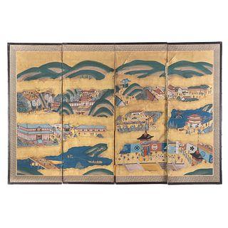 Rare Japanese Folding Panel Screen