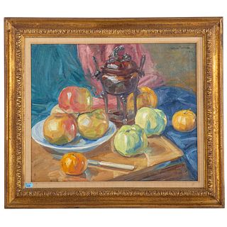 William Malherbe. Still Life with Apples, oil