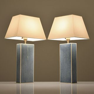 Pair of Shagreen Lamps, Manner of Karl Springer