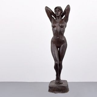 "Enzo Plazzotta Bronze Female Nude Sculpture, 76""H"