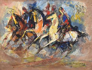 William Meyerowitz Painting, Horse Racing