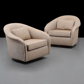 Pair of Swivel Lounge Chairs, Manner of Milo Baughman