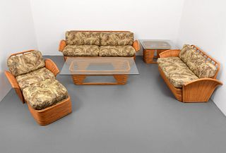 "Rare ""Fan Arm"" Rattan Living Room Suite, The Golden Girls"