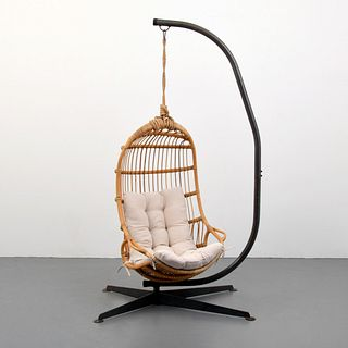 Rattan Hanging Lounge Chair, Manner of Arthur Umanoff