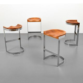 Set of 4 Bar Stools, Manner of Milo Baughman