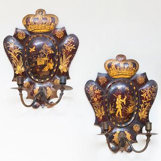Pair of Faux Tortoiseshell Painted Tôle Two-Light Sconces