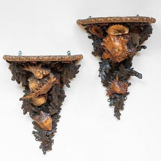 Pair of Italian Polychrome Painted and Carved Wood Grotto-Style Wall Sconces