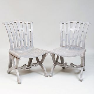 Pair of English Painted Wood Conservatory Chairs