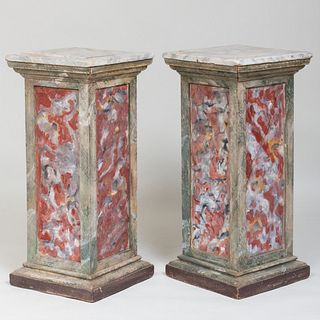 Pair of Faux Marble Painted Corner Pedestals