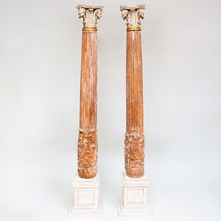 Pair of Painted and Parcel-Gilt Fluted Corinthian Columns