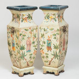 Large Pair of Continental Bronze-Mounted Painted Wood Chinoiserie Decorated Vases