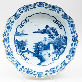 Chinese Export Blue and White Porcelain Basin of Silver Shape