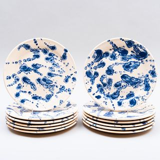Set of Twelve Poterie Ludwig Soufflenheim Splatterware Plates