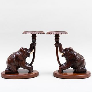 Pair of Indian Carved Hardwood Seated Elephants Pedestals