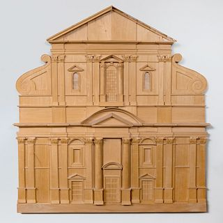 Carved Wood Model of a Neoclassical Façade