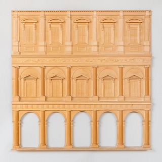 Carved Wood Model of a Classical Façade