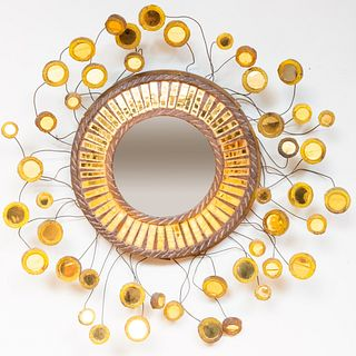 After Edward Zajac Resin and Metal Convex Mirror, in the Manner of Line Vautrin