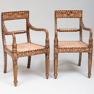 Pair of Anglo-Indian Teak and Bone Inlaid Armchairs