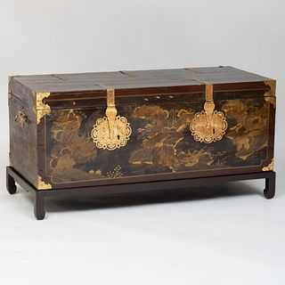Chinese Export Brass-Mounted Lacquer Chest on a Conforming Stand