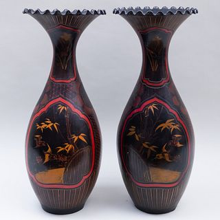 Pair of Japanese Painted Pottery Vases