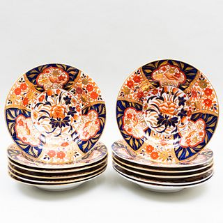 Set of Twelve Coalport Imari Plates in the 'Peony' Pattern