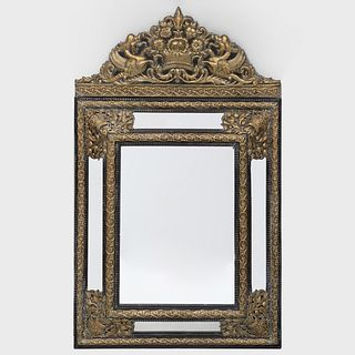 Dutch Baroque Style Brass Repoussé and Ebonized Mirror