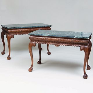 Pair of George III Style Carved Mahogany Consoles, of Recent Manufacture
