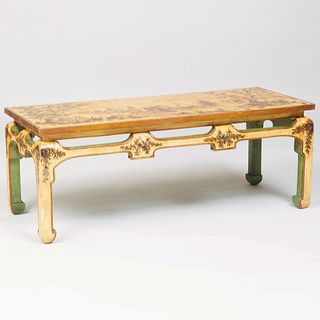 Chinese Cream Painted and Parcel-Gilt Chinoiserie Decorated Low Table