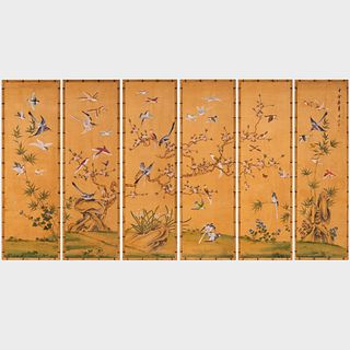 Set of Six Japanese Painted Wallpaper Panels in Faux Bamboo Frames