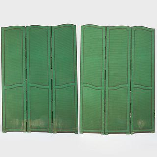 Two Brass Studded Fabric Three Panel Screens