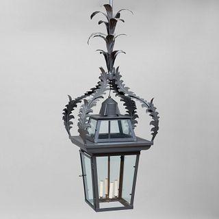 Large Painted Tôle Foliate Four-Light Lantern