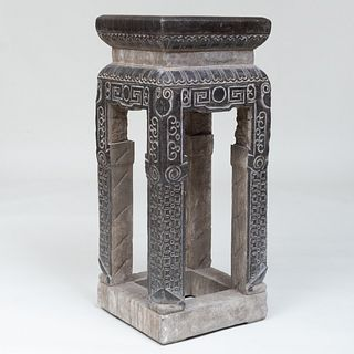 Pair of Chinese Carved Marble Archaic Style Pedestals